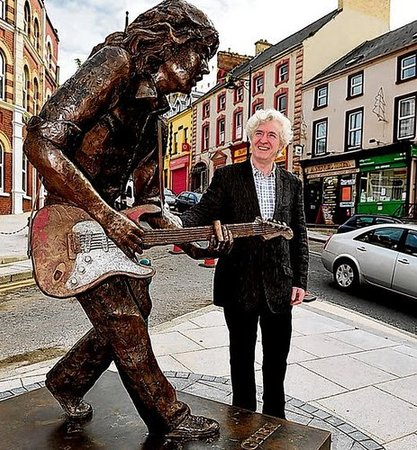 Rory Gallagher Statue : Brothers in arms ... Donal Gallagher brother to the Late Great Rory Gallagher at the Rory Gallag