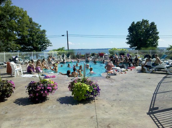 Kelleys Island Venture Resort: Our beautiful pool, busy on a hot July Saturday afternoon!