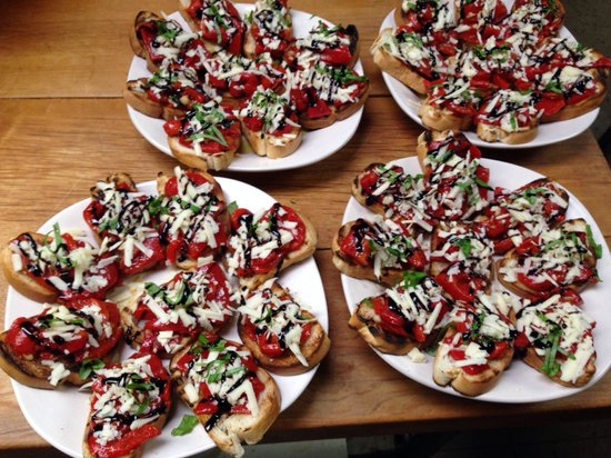 Finelli's Italian Villa : Mini Roasted red pepper bruschetta with Fontinella cheese, fresh basil and a Balsamic glaze.