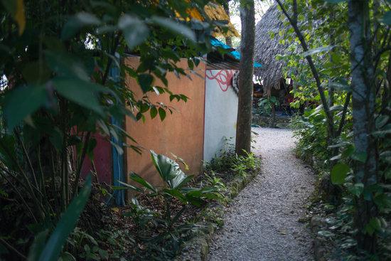 Hotel Mon Ami: Camino al restaurante dentro de nuestro jardín