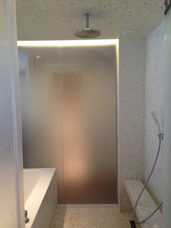 Hotel Mont-Blanc: shower to tub, japanese style. Love it!
