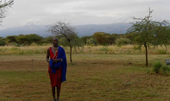 Amboseli Sopa Lodge: Masia on hand for a picture