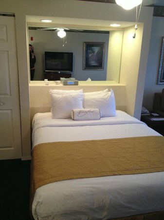 Suites at Fall Creek: The bed, with a shelf/mirror behind it and an ipod dock