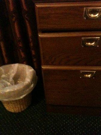 Chequers Inn: broken drawers with tea & coffee stuck inside