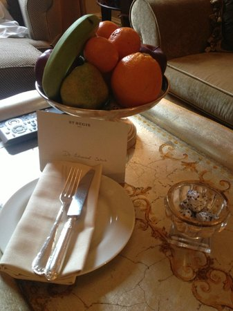 The St. Regis Rome: Fruit in our room.