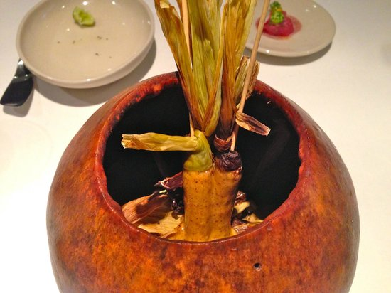 Pujol: The best entree.  Smoked baby corn in a gourd.