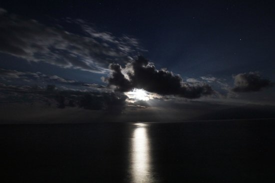 Maui Kai: Moonset with gorgeous clouds (December 2013)