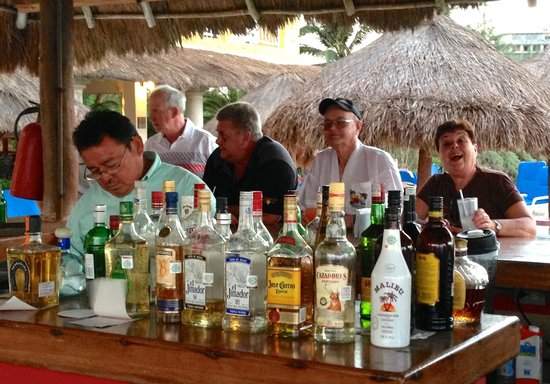 Playa Azul Golf, Scuba, Spa : Beach bar with Kermit