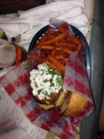 Brooks Gourmet Burgers & Dogs: pesto goat cheese burger
