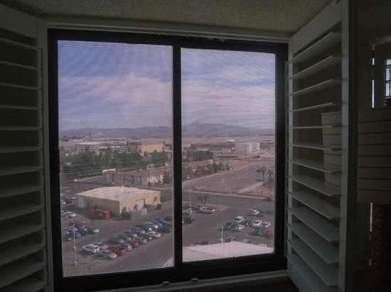 Tropicana Las Vegas - A DoubleTree by Hilton Hotel : The prison-like window coating obstructed the view