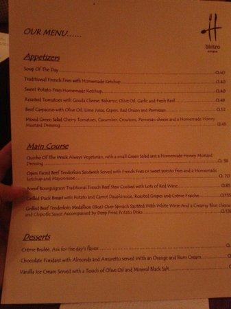 Hector's Bistro: Hector's menu. Feb14