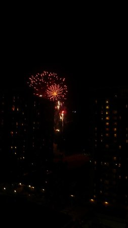 Grand Waikikian by Hilton Grand Vacations: View of the fireworks, partially blocked by Rainbow Tower