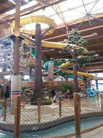 Timber Ridge Lodge & Waterpark : A view of the indoor slides