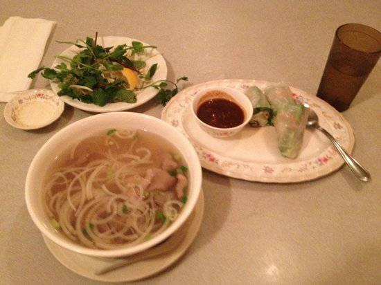 Hilo Rice Noodles Soup : Spring rolls, beef pho soup with vegetables