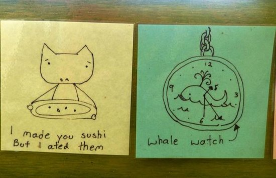 Sakim Bento Sushi Kaikoura: Two of the drawings along the eating counter inside.