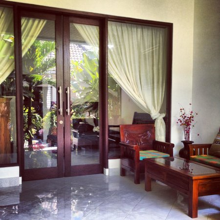 Kubu Darma Accommodation: Private porch area in front of room.