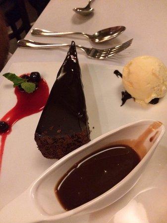 Rare Steakhouse Uptown: Flourless chocolate cake - yum!!