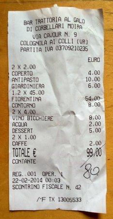 Colognola ai Colli, Italien: scontrino