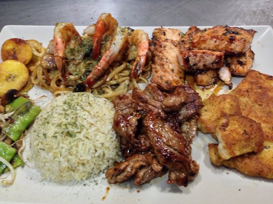 Hopi Bon Grill: Made to order Land and Sea platter - you can design your own meal with choices of chicken breast