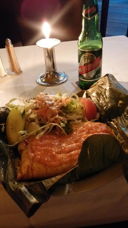Qba: Good food and Cuban beer on bottle.