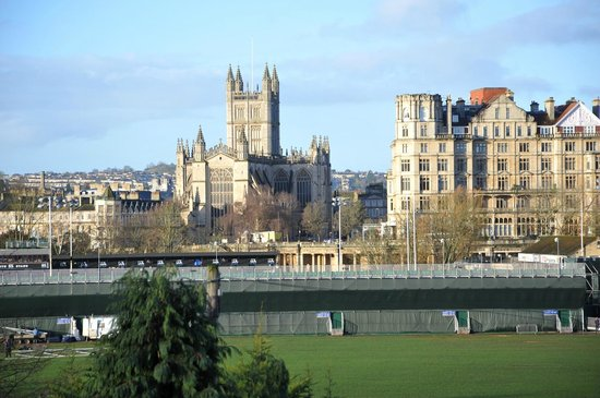 The County Hotel: The view across to Bath Abbey with the rugby ground in between