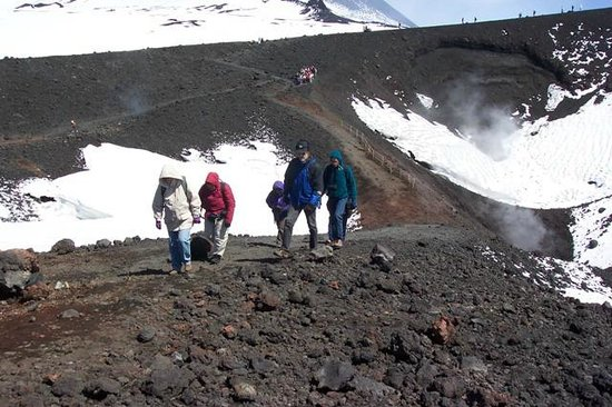 Mount Etna: Part of our group at the top