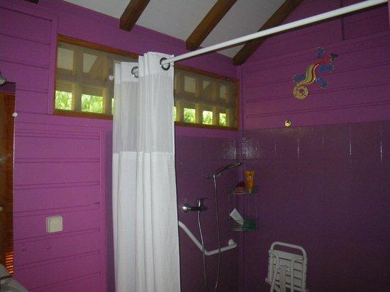 Rochers Caraibes-Eco Village : La salle de bain (accès handicapés)