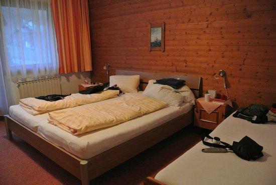 Gasthof Hamberg : Ruime slaapkamer met tv en echt goede bedden! Ook terras met tafel en stoelen.