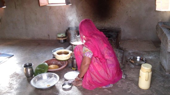 Chhotaram Prajapat's Homestay : Chhotaram's mother busy in kitchen