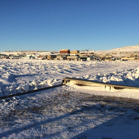 Iqaluit and the Frobisher Inn from the breakwater