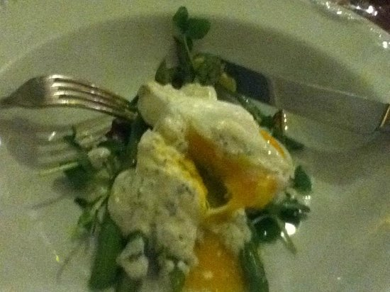 The West Arms Hotel : a starter of asparagus with a poached egg