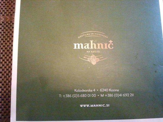 MAHNIC: La copertina del menù