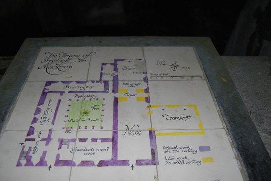 Muckross Abbey : Map of Abbey in ceramic tiles.
