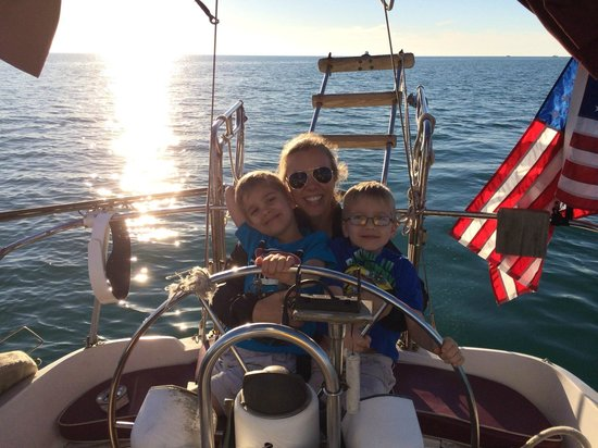 Anna Maria Sailing Adventures: steering the boat