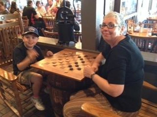 Cracker Barrel: playing checkers before breakfast