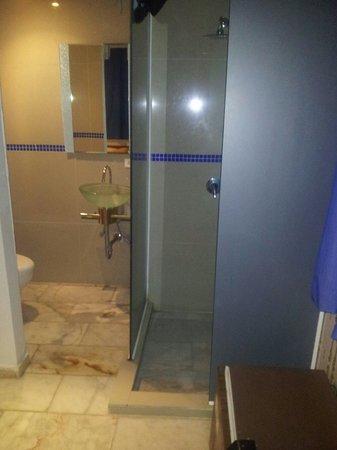 โรงแรมคอสตา เดล โซล: Baño sin cortinas o puerta. Ilógico pero verdadero