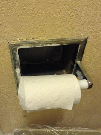 Claremont Kissimmee Hotel: Crusty corroded dirty nasty TP holder, Scary~!