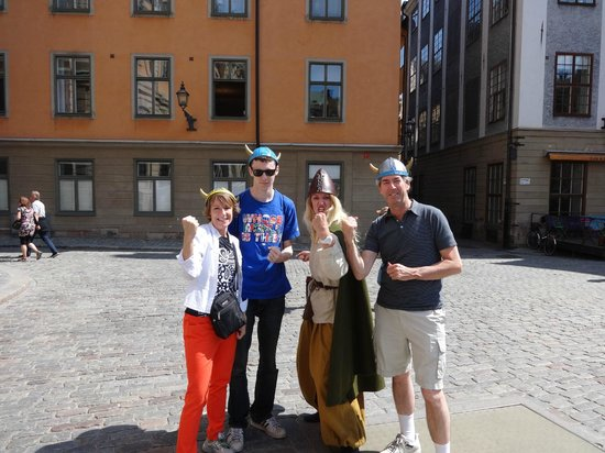 OURWAY Tours in Stockholm: Here we are with our tour guide in Stockholm in our Viking hats