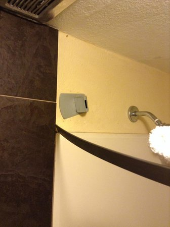 Claremont Kissimmee Hotel: Curtain rod fell right out of the wall!  Cheap flat metal they made for a curtain holder!
