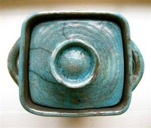 Grand Isle Art Works: Raku jar by artist, Sherry Corbin.