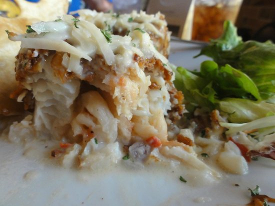 """Greenhouse Cafe Dorado : """"Mero Special""""  (lobster-stuffed grouper fillet crusted in almonds with coconut/vodka sauce)"""