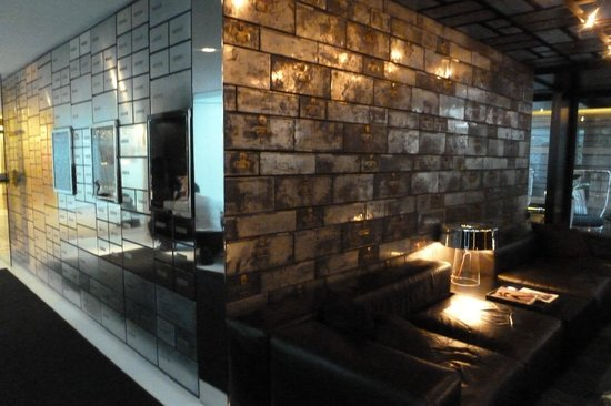 Mandarin Oriental, Barcelona: another view of bar...note old safe deposit boxes on wall