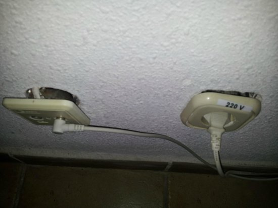 Sol Sun Beach : Electric sockets hanging from wall