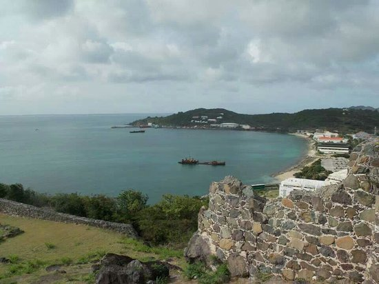 Fort Louis: View to Marigot port from Fort Saint Louis