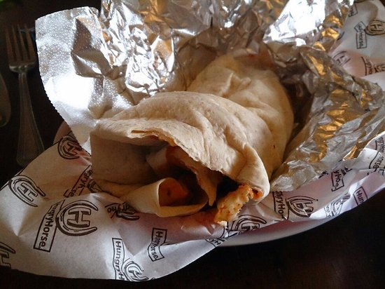 The Mount: The BIG Burrito - spicy chicken (quite mild), refried beans, the works - delicious