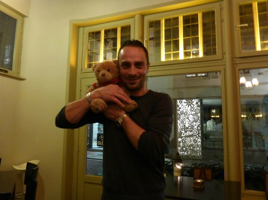 La Cantina: Jenaro - Our Host - A Lovely Guy with our travelling bear. @bearlebear7