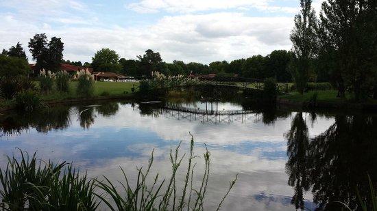 San Ceferino Hotel & Spa : Vista del lago en el parque con su puente y su isla central