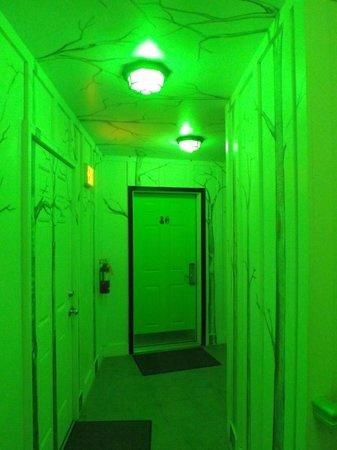 The Roxbury, Contemporary Catskill Lodging: Cool hallway at night
