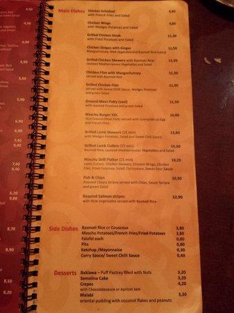 Maschu Maschu: dinner menu 1
