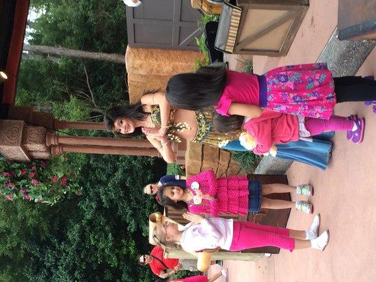 Epcot: 3.  Dancer mesmerizing young girls.